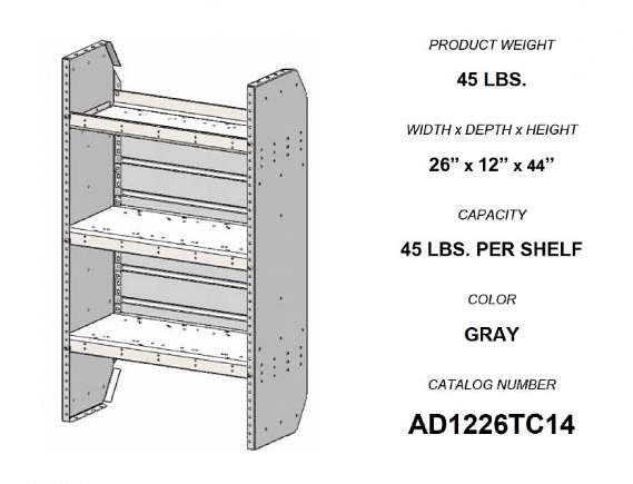 Adrian Steel Adjustable 3-Shelf Unit, 26w x 44h x 12d, Gray