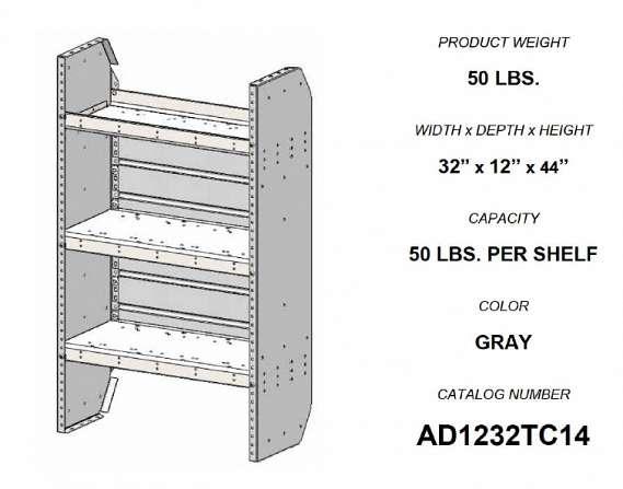 Adrian Steel Adjustable 3-Shelf Unit, 32w x 44h x 12d, Gray