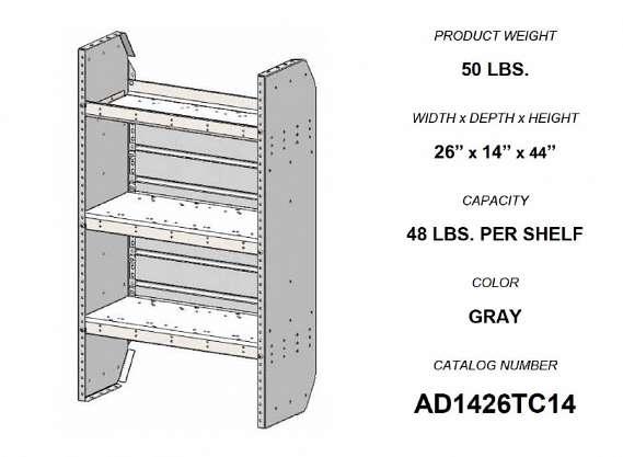 Adrian Steel Adjustable 3-Shelf Unit, 26w x 44h x 14d, Gray
