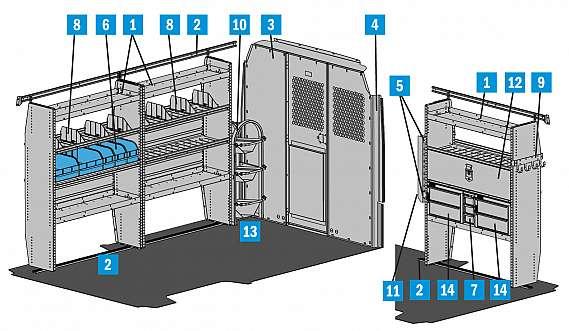 "Adrian Steel HVAC Starter Package, Gray, ProMaster, 136"""
