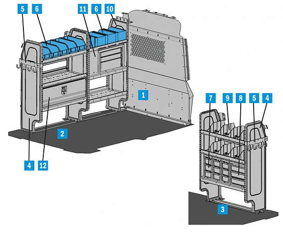 """Adrian Steel Electrical Package with 14"""" ADseries Shelving fits City Express, NV200"""
