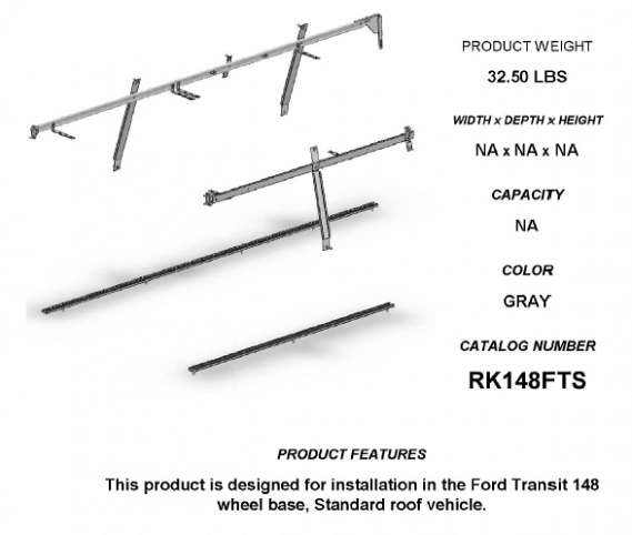 RAIL KIT, TRANSIT LR, LWB
